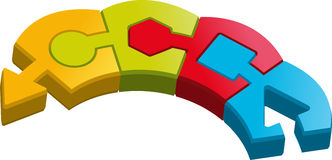 Shape puzzle pieces. A connection of puzzle pieces with shapes Stock Photo