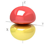 Shape of the 2Pz atomic orbital on white background. Available o Royalty Free Stock Photography