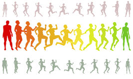 Shape running losing weight woman silhouettes Stock Photo