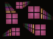 Shape's abstraction. Of colorful windows on black background Stock Photography