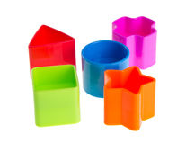 Shape Sorter. Stacks of  Toy Blocks on background Royalty Free Stock Photos