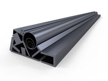 Shape steel-rolled stock. A series of different sizes metal pipes on shelf Stock Images