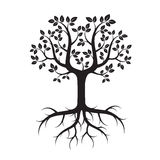 Shape of Tree with Leafs and Roots. Vector Illustration. Royalty Free Stock Image