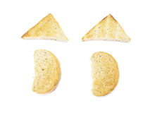 Shape whole wheat toast top view Royalty Free Stock Photos