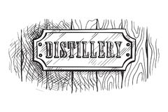 Shape wooden sign board with distillery. Vector illustration Stock Image