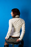 Shaped back of young caucasian girl waiting Royalty Free Stock Photo