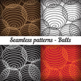 Shaped balls. Set of seamless patterns. Royalty Free Stock Photography