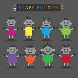 Shaped body buddies on dark gray background Royalty Free Stock Image