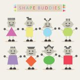 Shaped body buddies - Set of basic different cute characters Royalty Free Stock Photo