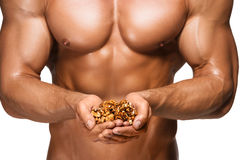 Shaped and healthy body man holding a walnuts Royalty Free Stock Image