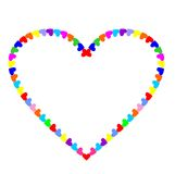 Shaped Heart from many colorful hearts.  Royalty Free Stock Images