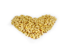 Shaped heart of pine nuts. Isolated on white background Stock Image