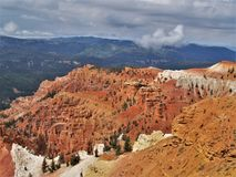 Cedar Breaks National Monument. Shaped like a giant coliseum, Cedar Breaks is filled with stone spires, columns, arches, pinnacles, and intricate canyons in royalty free stock images
