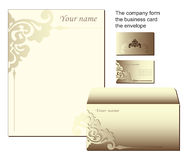 Shaped stationery business form. Vector business stationery shaped form. Identity cards, a corvette and a form for the letter in elegant brown beige color Royalty Free Stock Photography