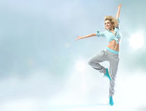 Shapely dancer practicing trhe choreography Royalty Free Stock Image