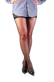 Shapely female legs in black stockings. Royalty Free Stock Images