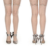 Shapely female legs in pantyhose and shoes Royalty Free Stock Photo