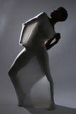 Shapely Woman in Creative Light and Spandex Fabric Royalty Free Stock Photos