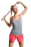 Shapely woman exercising Stock Photo