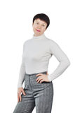 Shapely Woman Wearing White Knitted Turtleneck Stock Photo