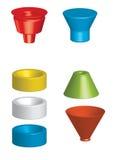 Shapes. Colourful, three dimensional geometric shapes stock illustration