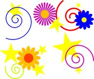 Shapes. Stars, swirls, and flowers. great for backgrounds Royalty Free Stock Photography