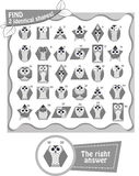 Shapes black and white. Visual game for children and adults. Visual Game for children. Task: 2 identical shapes! Geometric shapes in the form of an owl black and Stock Photos