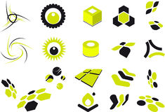 Shapes clip-art. A set of lime green and black illustrations of various shapes. Includes cubes, cylinders, circles, cells and swirls Stock Image