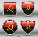 Angola Flag in 4 shapes collection with clipping path royalty free stock photo