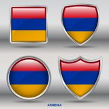 Armenia Flag in 4 shapes collection with clipping path royalty free stock photography