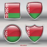 Belarus Flag in 4 shapes collection with clipping path stock photography