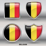 Belgium Flag in 4 shapes collection with clipping path stock image