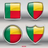 Benin Flag in 4 shapes collection with clipping path stock photos