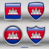Cambodia Flag in 4 shapes collection with clipping path royalty free stock photo