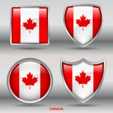 Canada Flag in 4 shapes collection with clipping path royalty free stock image
