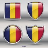 Chad Flag in 4 shapes collection with clipping path royalty free stock photos