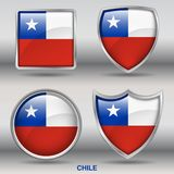 Chile Flag in 4 shapes collection with clipping path royalty free stock image