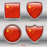 China Flag in 4 shapes collection with clipping path stock photography