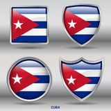 Cuba Flag in 4 shapes collection with clipping path royalty free stock photo