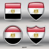 Egypt Flag in 4 shapes collection with clipping path stock image