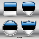 Estonia Flag in 4 shapes collection with clipping path royalty free stock photos