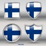 Finland Flag in 4 shapes collection with clipping path. 4 shapes collection icon useful for button or icon logo for graphic element or website element Stock Photos