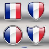 France Flag in 4 shapes collection with clipping path stock images