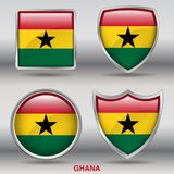 Ghana Flag in 4 shapes collection with clipping path royalty free stock photo
