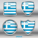 Greece Flag in 4 shapes collection with clipping path royalty free stock image