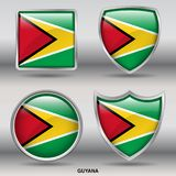 Guyana Flag in 4 shapes collection with clipping path royalty free stock photo