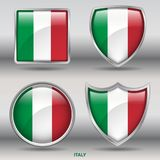 Italy Flag in 4 shapes collection with clipping path Stock Photography