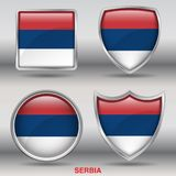 Serbia Flag in 4 shapes collection with clipping path Stock Photos