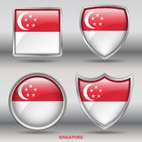 Singapore Flag in 4 shapes collection with clipping path Royalty Free Stock Photography