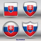 Slovakia Flag in 4 shapes collection with clipping path Royalty Free Stock Image